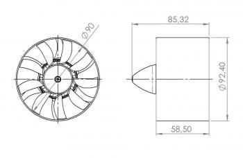 JETFAN-90V3 Set (8S Lipo) mit HET 700-68-1680, zusammengebaut und ausgewuchtet
