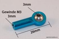 Kugelkopf Metall blau 26mm M3 Gewinde