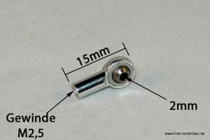 Kugelkopf Metall silber 15mm mit M2,5 Gewinde
