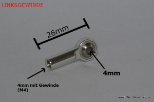 Kugelkopf Metall silber 26mm mit M4 LINKSGEWINDE 4mm Steckung am Kugelkopf