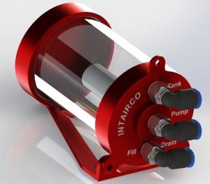 High Flow Super Hoppertank 175ml / Single-Eingang mit QS-Verbinder 4mm, Ausgang PUMPE und TANK mit QS Verbinder 6mm (90° Winkel)