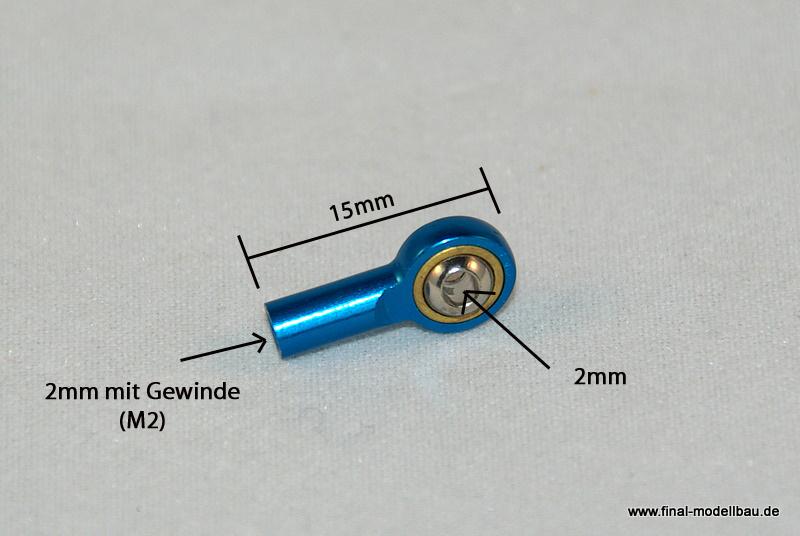 Kugelkopf Metall blau 15mm mit M2 Gewinde
