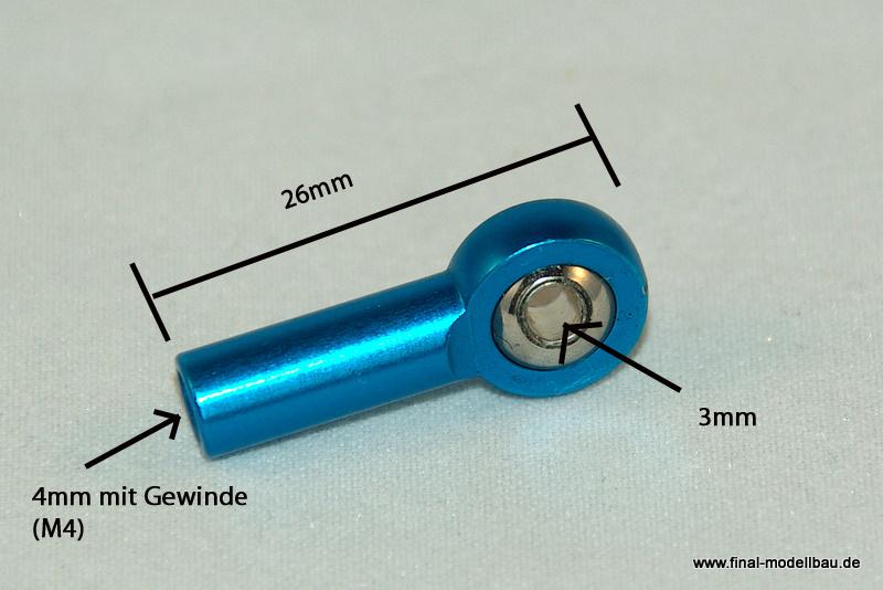 Kugelkopf Metall blau 26mm mit M4 Gewinde